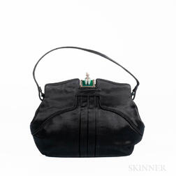 Charles Blair Black Satin Handbag