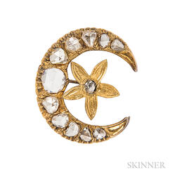 Gold and Rose-cut Diamond Crescent Brooch