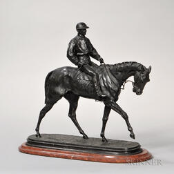 After Pierre-Jules Mêne (French, 1810-1879)    Bronze Figure of a Horse and Jockey