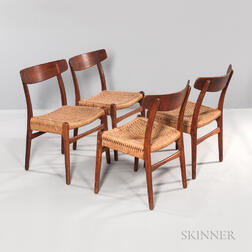 Four Hans Wegner for Carl Hansen Chairs