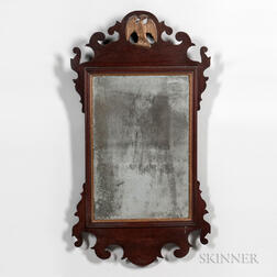 Mahogany Scroll Frame Mirror with Eagle Cresting