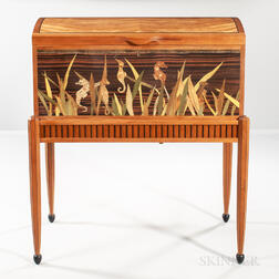 Silas Kopf Seahorse Marquetry Chest-on-Stand