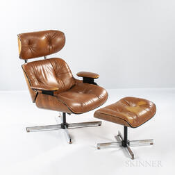 Plycraft Brown Leather Lounge Chair and Ottoman