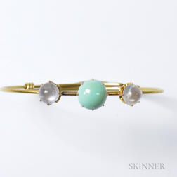 Antique Turquoise and Moonstone Bracelet