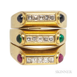 18kt Gold, Diamond, and Gem-set Stacking Rings