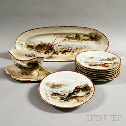 Ten-piece Japanese Porcelain Fish Set