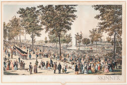 """View of the Water Celebration, on Boston Common October 25th 1848"" Lithograph"