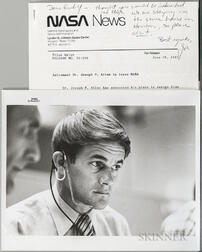 Apollo 15, Four Documents, Including Photographs and Signed Items.