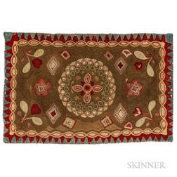 Shirred Floral and Geometric Pattern Rug