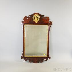 Two Chippendale-style Mahogany and Tiger Maple Mirrors