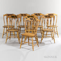 Set of Eight Yellow-painted and Decorated Arrow-back Side Chairs