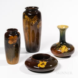 Four Rookwood Pottery Floral Vases