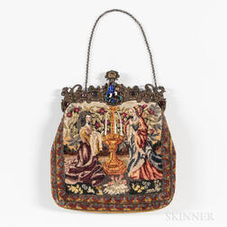 Crewelwork Handbag with Sterling Silver Clasp