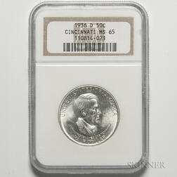 1936-D Cincinnati Commemorative Half Dollar, NGC MS65.     Estimate $200-400