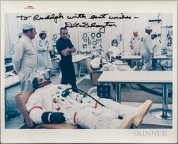 Apollo 15, Prime Crew Suiting Up, Photo Signed by Dr. Donald K. Slayton, July 26, 1971.