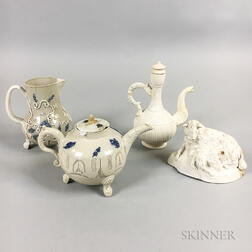 Four Staffordshire Salt-glazed Stoneware Items