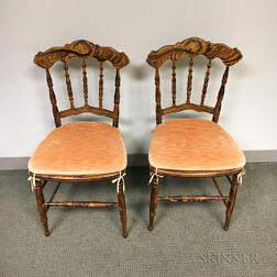 Pair of Grain-painted Cane-seat Fancy Chairs