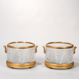 Pair of Gilt-bronze-mounted Baccarat-style Crystal Jardinieres