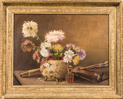 American School, 20th Century      Still Life with Flowers and Palette