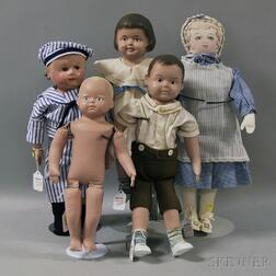 Five Cloth Dolls Including Chase