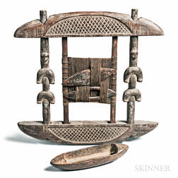Nigerian-style Carved Wood Loom and a Shuttle