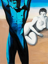 American School, 20th Century    Blue Male Nude and Female Nude in a Landscape