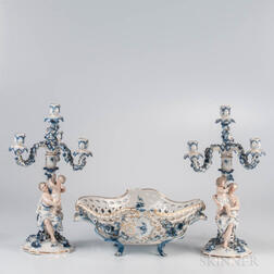 Assembled Three-piece German Porcelain Garniture