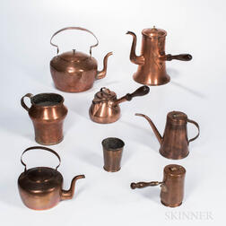 Eight Early Copper Kitchen Items