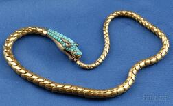 Antique 14kt Gold, Turquoise and Gem-set Snake Necklace