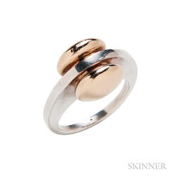 14kt Gold and Sterling Silver Ring, Pierre Cardin