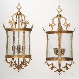 Pair of Gilt-metal and Wheel-etched Glass Hall Lanterns