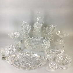 Fourteen Pieces of Colorless Cut Glass Tableware