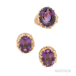 14kt Gold and Amethyst Ring and Earrings