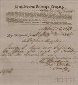Buckner, Simon Bolivar (1823-1914) Signed Telegram Form.   Mobile, Alabama, 2 April 1865.