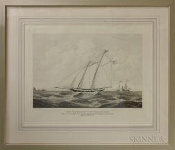 "Framed Duncan Engraving The ""America"" Schooner"