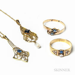 Group of Gold and Sapphire Jewelry