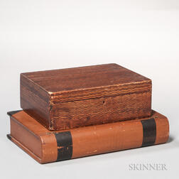 Comb-painted Box and Paint-decorated Book-form Box