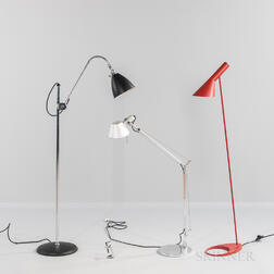 "Three Floor Lamps Including an Arne Jacobsen ""AJ"" for Louis Poulsen and an Artemide ""Tolomeo,"""