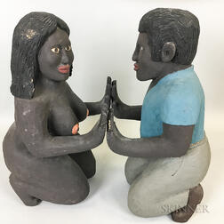 Two Contemporary Folk Art Carved and Painted Kneeling Figures