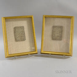 Two Framed Silver Card Cases