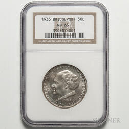 1936 Bridgeport Commemorative Half Dollar, NGC MS65.     Estimate $100-150