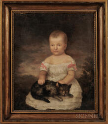 American School, 19th Century      Portrait of a Child with a Gray Cat