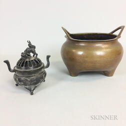 Chinese Bronze Pot and a Metal Censer