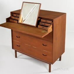 Povl Dinesen for Soborg Mobler Teak Vanity and Chest of Drawers