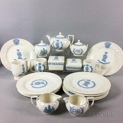 Nineteen Wedgwood Embossed Queens Ware Royal Commemorative Tableware Items.     Estimate $400-600