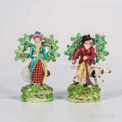 Two Staffordshire Bocage Sportsmen Figures