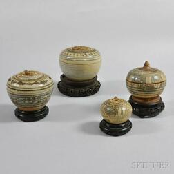 Four Sawankhalok Pottery Boxes with Lids