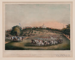 """The National Lancers with the Reviewing Officers on Boston Common"" Lithograph"