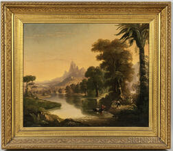 American School, 19th Century      River and Mountain Landscape with Man in a Boat