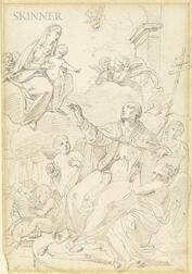 French School, 18th Century      St. Luke Drawing the Virgin